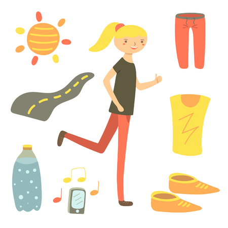 sun road: Hand drawn flat style running woman. Sport objects set including shorts, t shirt, sun, road, water bottle, snickers, phone. Sport objects icons Illustration