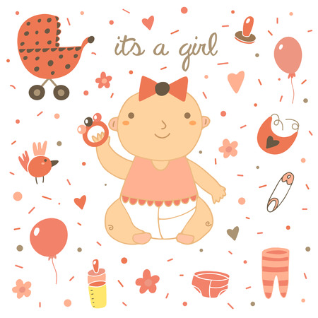 Cute hand drawn doodle baby shower cover, card. Its a girl lettering postcard with baby girl, milk bottle, bow, balloon, bird, flowers, hearts, pin, baby stroller, nipple, bib, sliders rattle