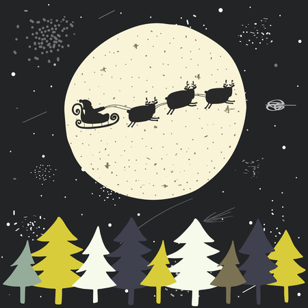 christmas eve: Cute hand drawn doodle Christmas background, postcard with flying santa, sledge, deers, full moon, sky, christmas trees, stars. New Year cover, flyer