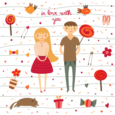 flowers cat: Cute hand drawn doodle boy and girl in love. Card, postcard about love, relationship, feeling, friendship. Romantic couple surrounded with birds, lollipops, flowers, cat, present, sweet polka dots Illustration