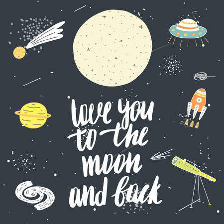 ufology: Cute hand drawn doodle card, postcard with moon, rocket, stars, comet, galaxy, planet, alien ship, telescope, cosmos, universe, lettering quote love you to the moon and back. Valentine postcard cover Illustration