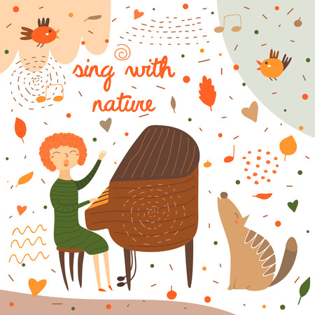 Cute hand drawn card, postcard with music teacher playing piano. Red haired woman sitting on chair and singing. Background for musical school, classes, education. Animals set including bird, wolf