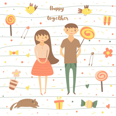 flowers cat: Card, postcard about love, relationship, feeling, friendship. Romantic couple surrounded with birds, lollipops, flowers, cat, present sweet polka dots Background for st valentines day