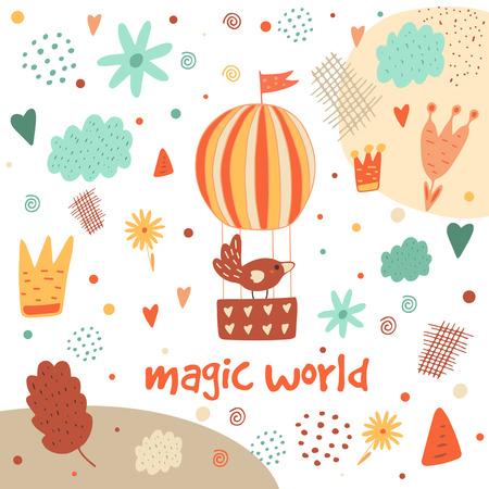 paloma caricatura: postal dibujada mano linda con el globo de aire caliente, pájaro, nubes, flores, corona, hoja, corazón, lunares, elementos abstractos. De fondo para los niños. cubierta de la ducha del bebé en el estilo de dibujos animados
