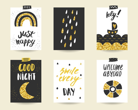 ring buoy: Cute doodle black and gold birthday, party, baby shower cards, brochures, invitations with rainbow, rain drops, sea, boat, moon, ring buoy. Cartoon objects background. Printable templates set