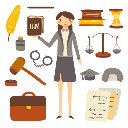 handcuffs woman: Hand drawn flat style woman lawyer and attorney objects collection including feather, book, sand clock, pen, paper, knowledge hat, judge wig, bag, gavel . Objects, icons set for lawyer Illustration
