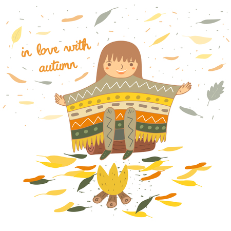 poncho: Cute hand drawn doodle card, postcard with girl in ethnic poncho sitting near the fire. Autumn background, cover, brochure with leaves
