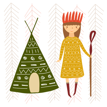 Cute hand drawn doodle card, postcard with girl in ethnic clothes and tepee. Background for children with hippie lady, tribal elements Illustration