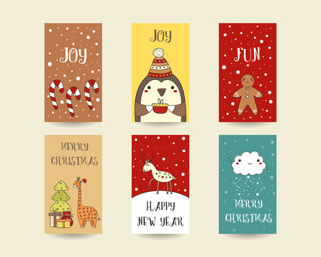 Cute hand drawn christmas cards postcards with candy sticks cute hand drawn christmas cards postcards with candy sticks penguin gingerbread man m4hsunfo