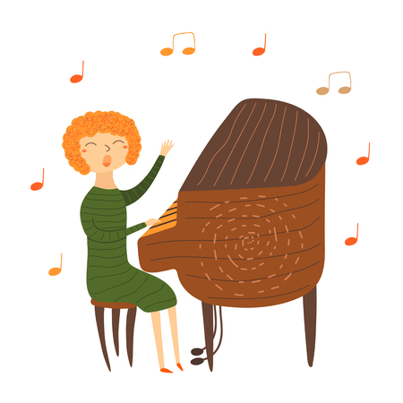 red haired: Cute hand drawn card, postcard with music teacher playing piano. Red haired woman sitting on chair and singing. Background for musical school, classes, education.