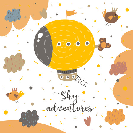 Cute hand drawn postcard with zeppelin, birds, clouds, sky, ladder, propeller, polka dots, abstract elements. Sky adventures background for children. Baby shower cover in cartoon style