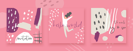 Cute hand drawn abstract style valentine, wedding cards, brochures, invitations with happy girl, abstract elements, stripes, dots, strokes