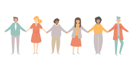 People of different nationalities including afro american, european, asian staying in line and holding each other hands. Crowd of people showing friendship, teamwork, tolerance, world races
