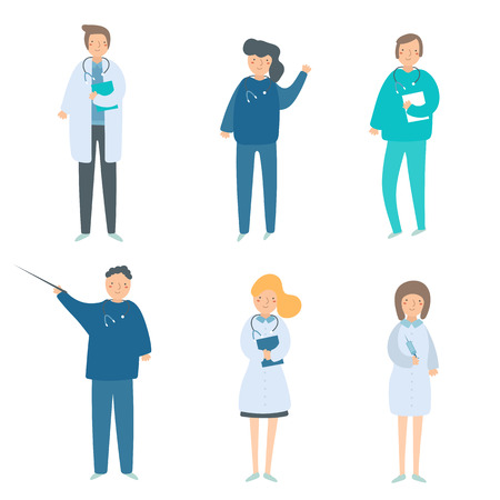 Doctors in flat style set. Medical workers collection in healthcare uniform with stethoscope
