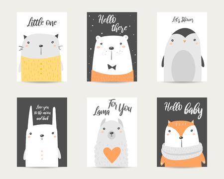 Cute hand drawn doodle baby shower cards, brochures, invitations with polar bear, cat, fox, penguin, rabbit, lama. Cartoon animals background