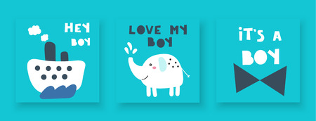 Baby shower cards, postcards for newborn boy with steam boat, elephant, tie bow, hey boy, love my boy, its a boy lettering quotes. Cute blue invitations, pages, cover for kids