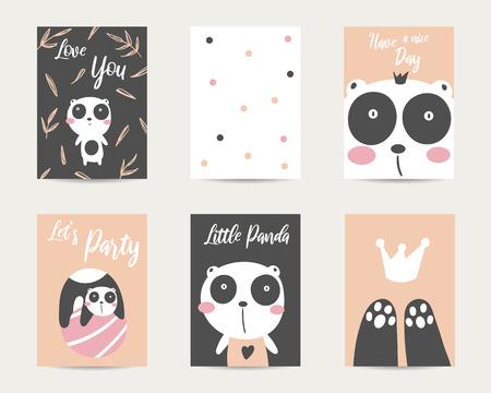 Cute hand drawn anime style baby shower cards, brochures, invitations with panda bear, heart, crown, ball, polka dots, bamboo leaves. Cartoon kawaii panda bear background in asian style