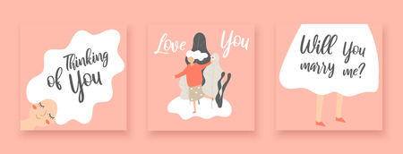 Romantic cards, postcard with girl with love you, will you marry me, thinking of you lettering quotes
