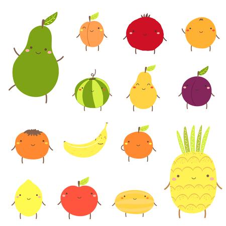 Cute fruit characters including avocado, apricot, garnet, watermelon, pear, plum, banana, orange, pineapple, melon, apple, lemon persimmon peach Kawaii fruit mascot icons in flat style for children
