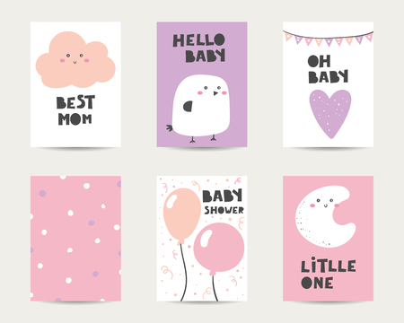 Baby shower cute cards, postcards, invitations, pages with bird, cloud, heart, balloons, polka dot, moon, lettering quotes best mom, hello baby, oh baby, baby shower, little one Funny cover for kids