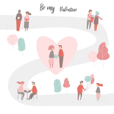 Valentines day people collection including men and women with heart, flowers, balloons, sitting in restaurant, walking in park. Couples in love set in flat trendy style Ilustracja