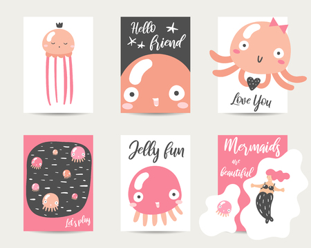 Cute hand drawn anime style cards, brochures, invitations with jellyfish, mermaid, heart, lettering quotes. Cartoon kawaii jellyfish background in asian style for baby shower, valentine day