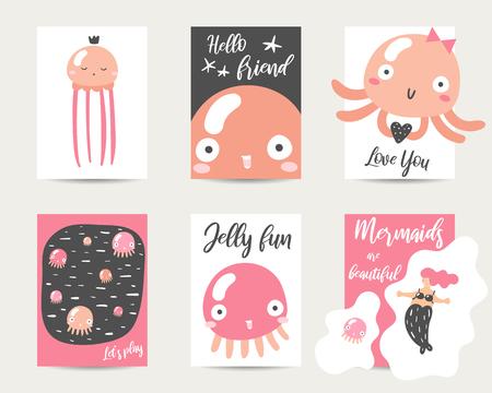Simpatiche carte in stile anime disegnate a mano, brochure, inviti con meduse, sirene, cuori, citazioni scritte. Cartone animato sfondo di meduse kawaii in stile asiatico per baby shower, giorno di san valentino