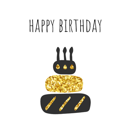 Happy birthday black and golden cake with candles and glittering parts. Trendy birthday card, postcard, template Ilustracja