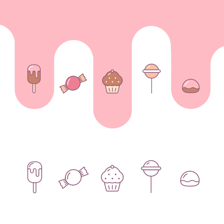 Cute candy icons including ice cream, sweet, muffin, lollipop, zephyr, Pastry icons set outlined