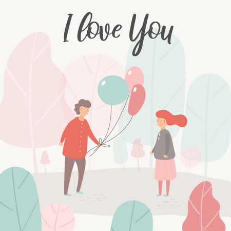 Card, postcard about love, relationship, feeling, friendship with boy, girl, balloons. Romantic couple in park surrounded with trees. Background for st valentines day