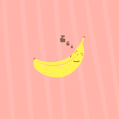 Banana sleeping funny character on pink abstract background
