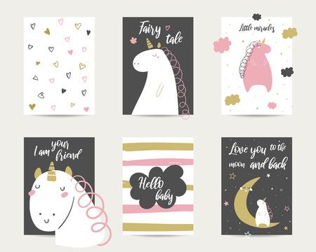 Cute hand drawn baby shower doodle cards, brochures, invitations with unicorn, cloud, stars, hearts, moon. Cartoon unicorn prints Ilustracja