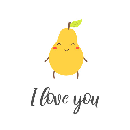 Cute flat style smiling pear character with love you lettering quote. Card, postcard, icon with pear for baby shower, st. valentines day