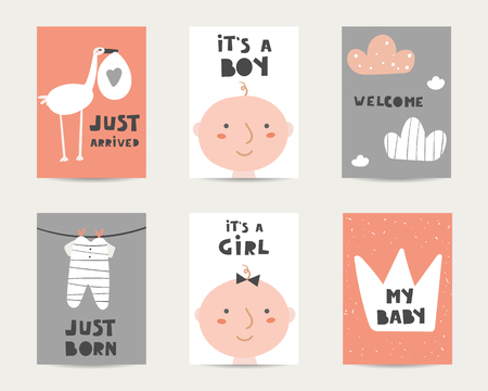 Baby shower cute cards, postcards, invitations, pages with stork, baby boy, baby girl, crown, clouds, sliders, just arrived, it's a boy, it's a girl, welcome, lettering quotes. Funny cover for kids  イラスト・ベクター素材