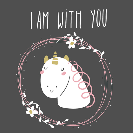 Baby shower, birthday, valentine day i am with you card, postcard, cover with white unicorn in flower frame on black background. Kawaii unicorn background