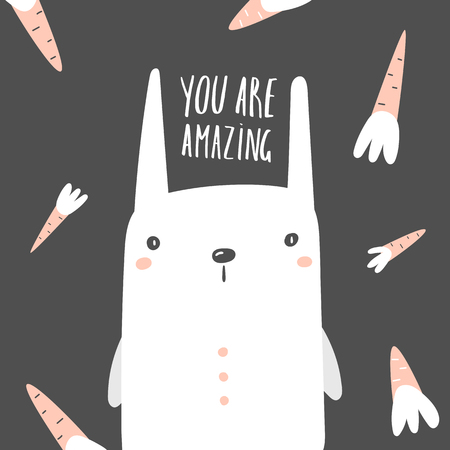 Baby shower cute rabbit surrounded with carrots and you are amazing lettering quote. Postcard with funny hare for kids