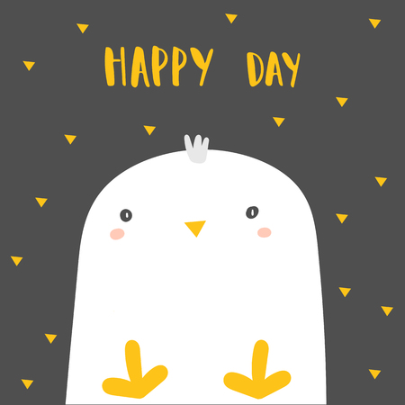 Baby shower chicken, bird with lettering quote happy day. Funny card, postcard, cover with chick for kids, children Ilustração