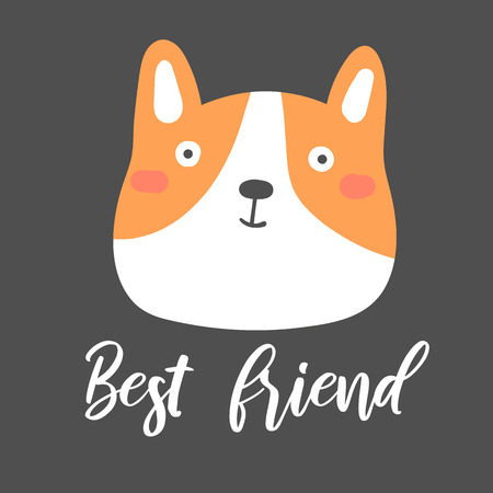 Corgi cute dog on black background. Postcard, card, poster for kids with funny puppy, lettering quote best friend