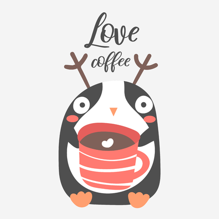 Penguin with cup of coffee. Cute Christmas animal with lettering quote love coffee