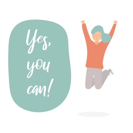 Yes you can lettering quote with happy jumping hands up girl. Motivational illustration showing success, inspiration, confidence, happiness for business, daily life, start up  イラスト・ベクター素材