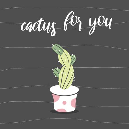 Cactus for you postcard. Cute plant on black background. Ilustração