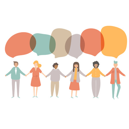People of different nationalities including afro american, european, asian staying in line and holding each other hands with dialog bubbles. Crowd of people showing friendship, teamwork, tolerance