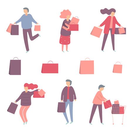 Shopping people set including man and woman with bags, cart. Flat style modern people set