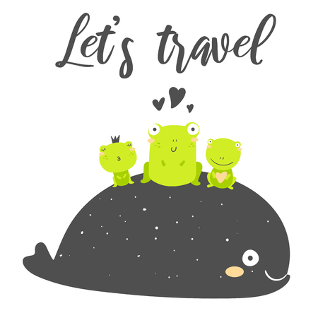 Let's travel card, postcard, banner with whale, frogs. Sea adventure poster  イラスト・ベクター素材