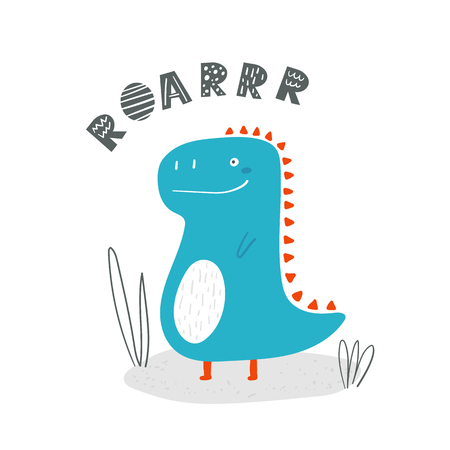 Cute blue dinosaur for kids. Doodle style funny doole dino poster for children
