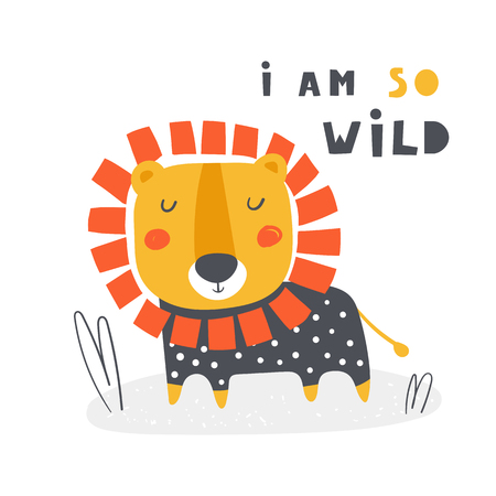 Cute poster with doodle lion for kids. I am so wild card, postcard, print, picture with african animal for children Ilustração