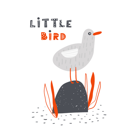 Seagull sitting on the stone in the sea. Cute poster, card, postcard with bird for kids