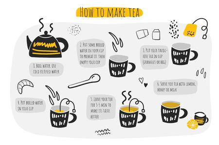 Cómo hacer té infográfico, instrucciones, pasos, consejos. Doodle dibujado a mano tetera, taza, cuchara, agua, bolsita de té, croissant de limón