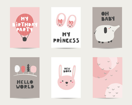 Baby shower cute cards, postcards, invitations, pages with air balloon, elephant, rabbit, trees, abstract elements, lettering quotes oh baby, new born, my princess. Funny cover for kids