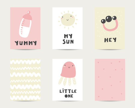 Baby shower cute cards, postcards, invitations, pages with milk bottle, sun, jelly fish, rattle, lettering quotes yummy, my sun, hey, little one Funny cover for kids
